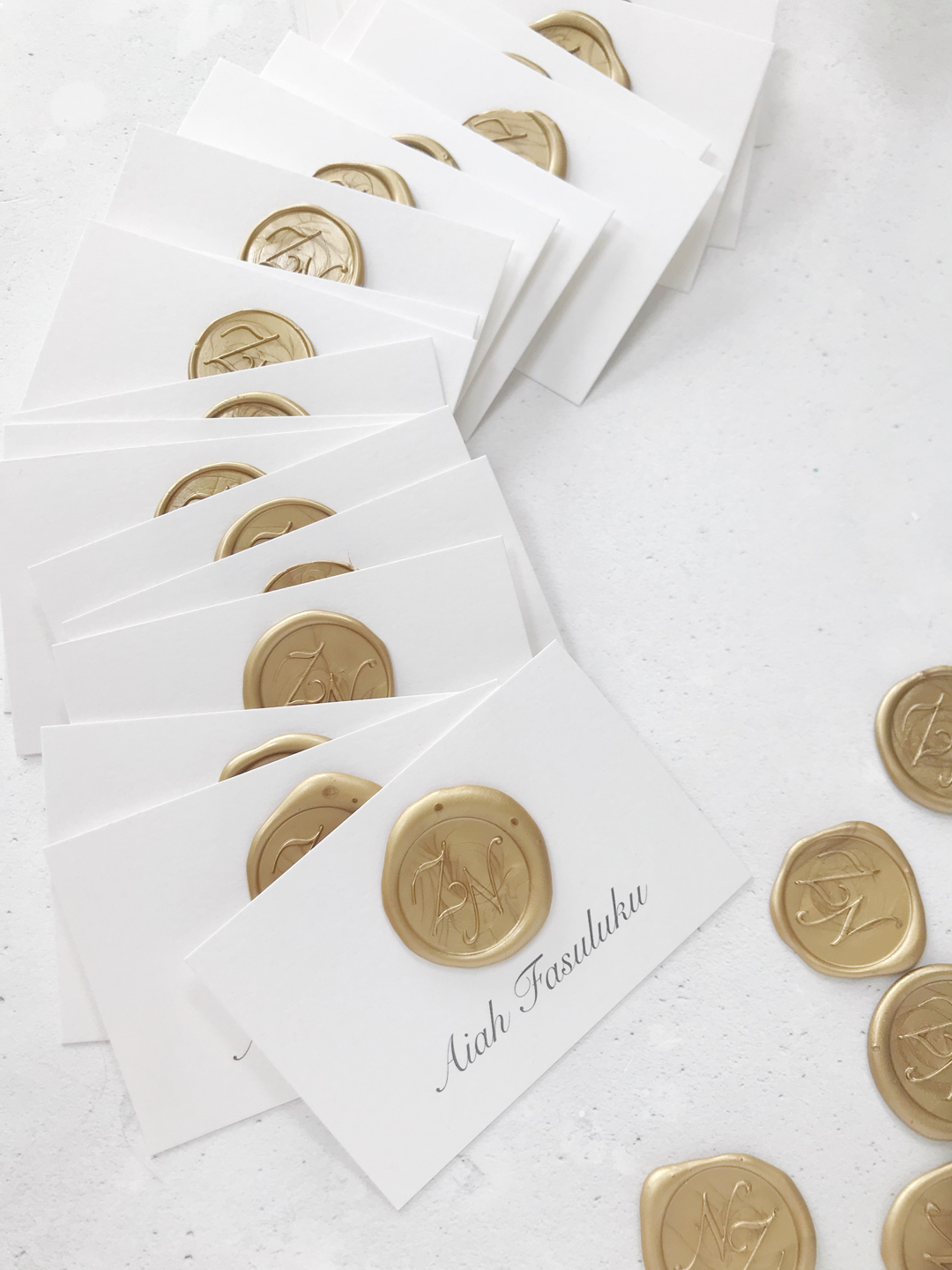 luxury-wedding-stationery-gold-monogram-wax-seals